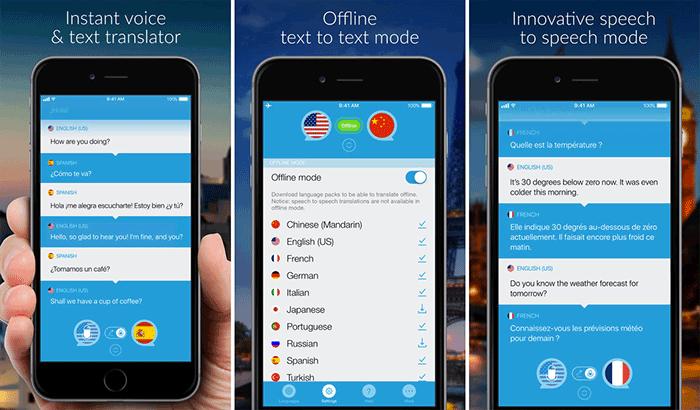 التحدث و ترجمة لقطة شاشة تطبيق iPhone