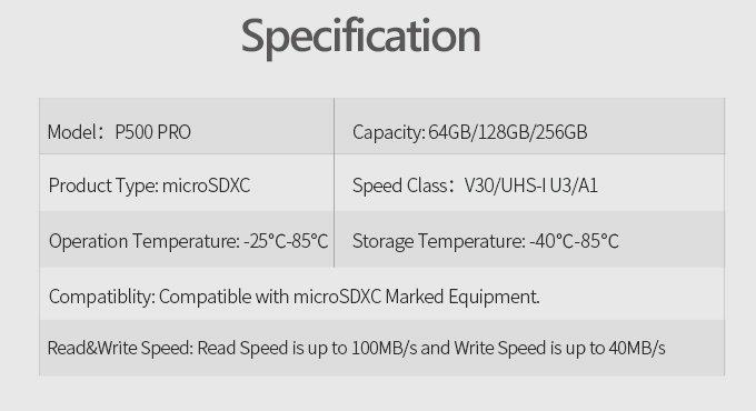 بطاقة ذاكرة Netac P500 Pro سعة 64 جيجابايت سريعة وغير مكلفة إلى حد ما (U3 / V30) 10