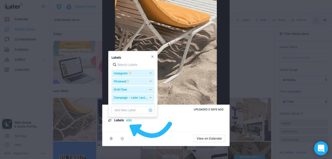 جدولة منشورات instagram: التسميات