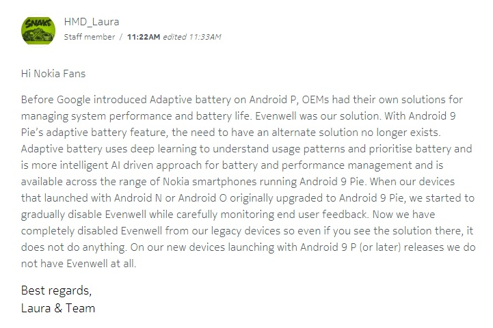 إنه رسمي: تتخلى Nokia Mobile عن برنامج Evenwell 3