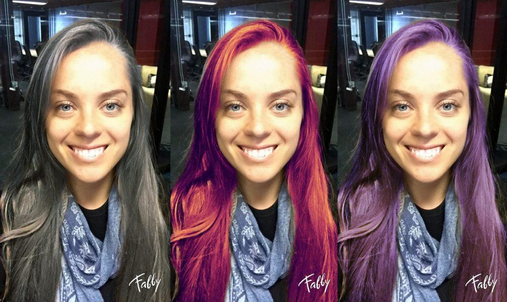 في بعض الأجهزة ، لا يمكن تغيير لون الشعر إلا بعد التقاط الصورة