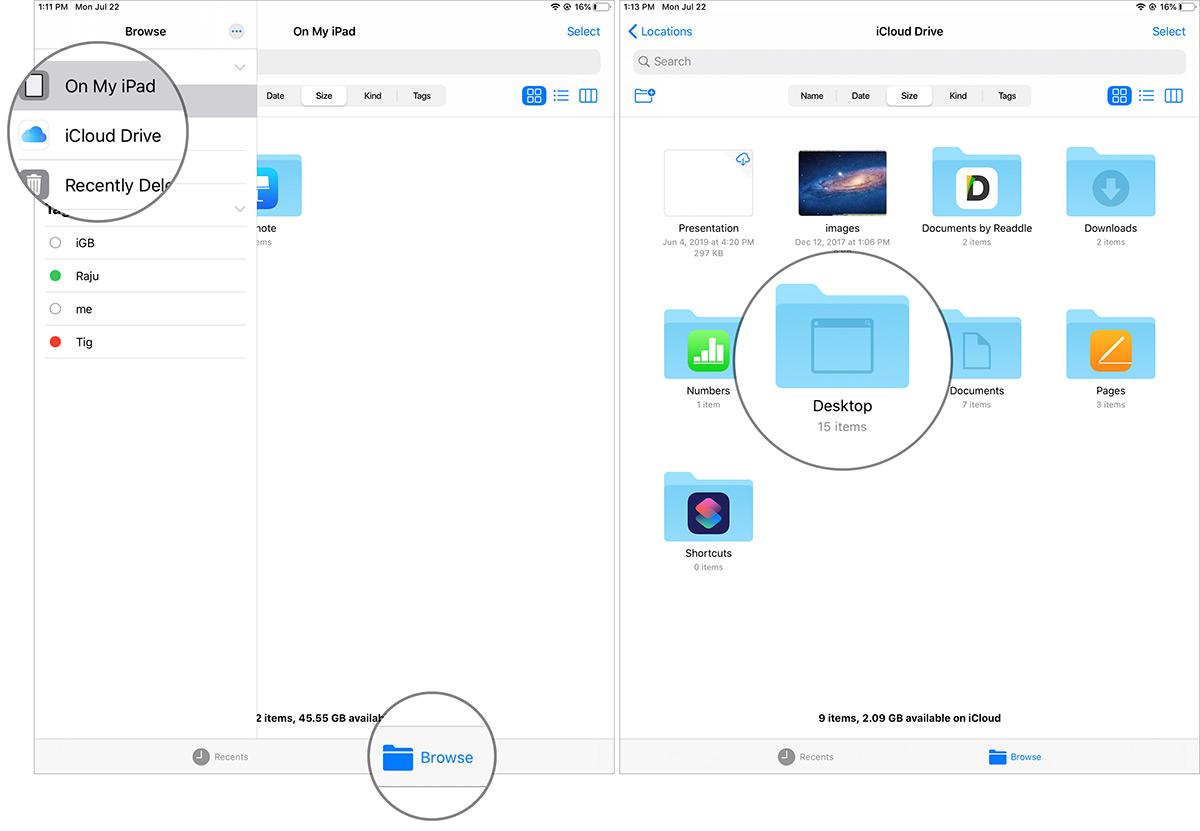 """انقر فوق """"استعراض"""" لتحديد المجلد الموجود في تطبيق ملفات iPadOS"""