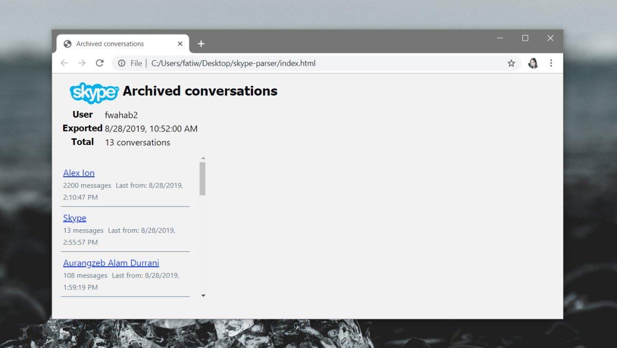 كيفية عمل نسخة احتياطية من تاريخ الدردشة ل Skype UWP على Windows 10 3