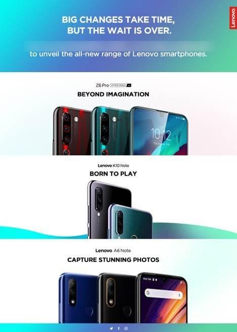 لينوفو Z6 برو ، K10 Note و A6 Note لإطلاق في الهند يوم 5 سبتمبر 1
