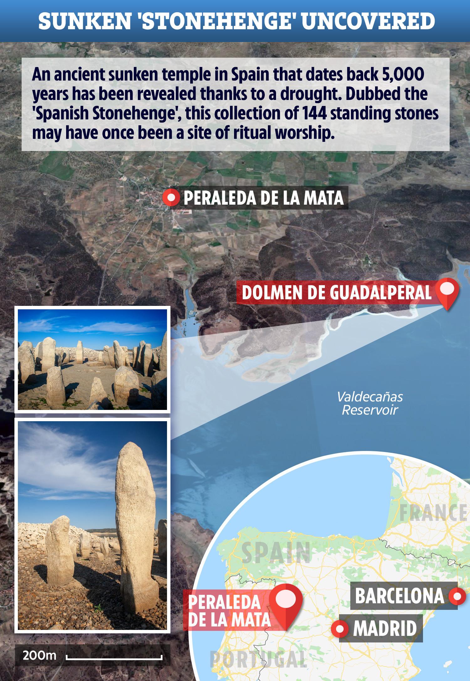 """الغموض الغامض 3000BC المعبد يطلق عليها اسم """"ستونهنج الاسبانية"""" يظهر بعد الجفاف يجف الخزان 1"""