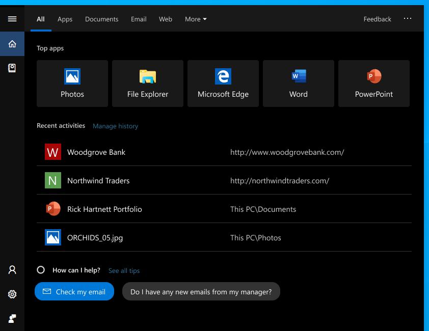 عرض Windows بحث الصفحة الرئيسية على Windows 10 أكتوبر 2018 التحديث. تعرض الشاشة الآن مرشحات البحث في الجزء العلوي ، وفيما يلي أهم التطبيقات والأنشطة الحديثة.