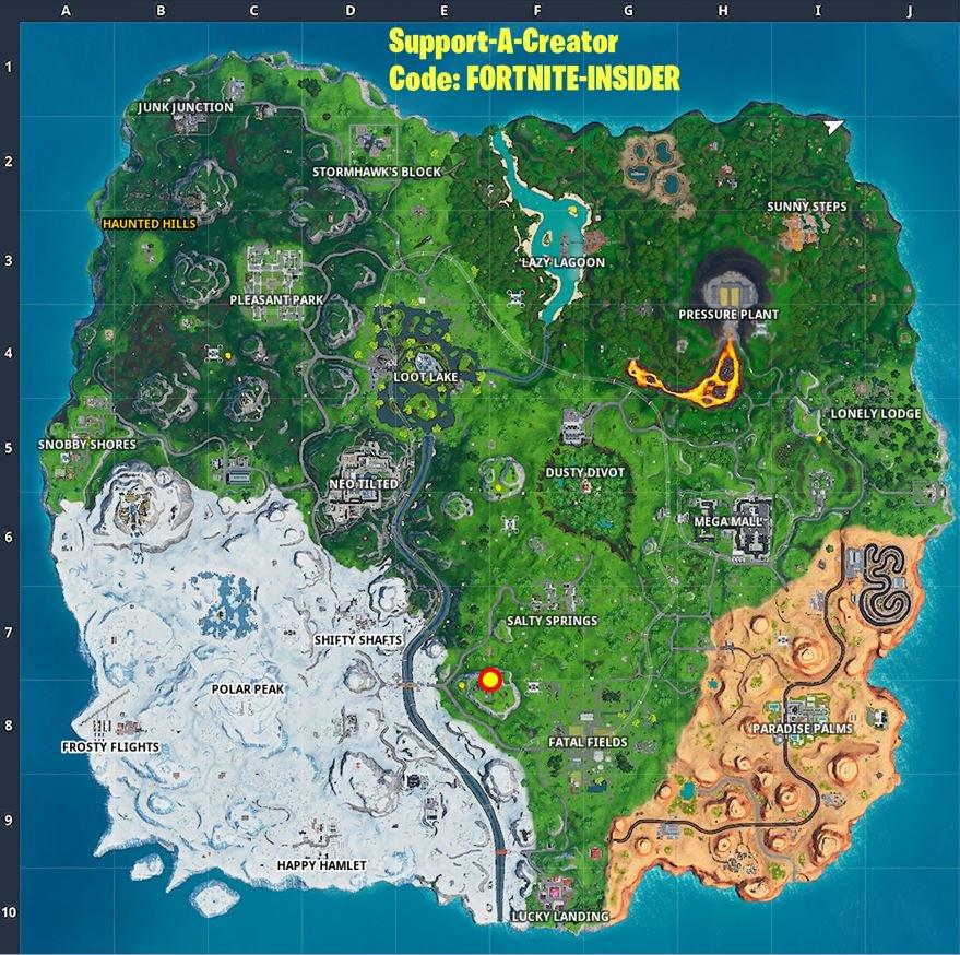 Fortnite  الموسم العاشر الأسبوع 5 كارثة خفية خفية موقع المعركة نجمة الخريطة