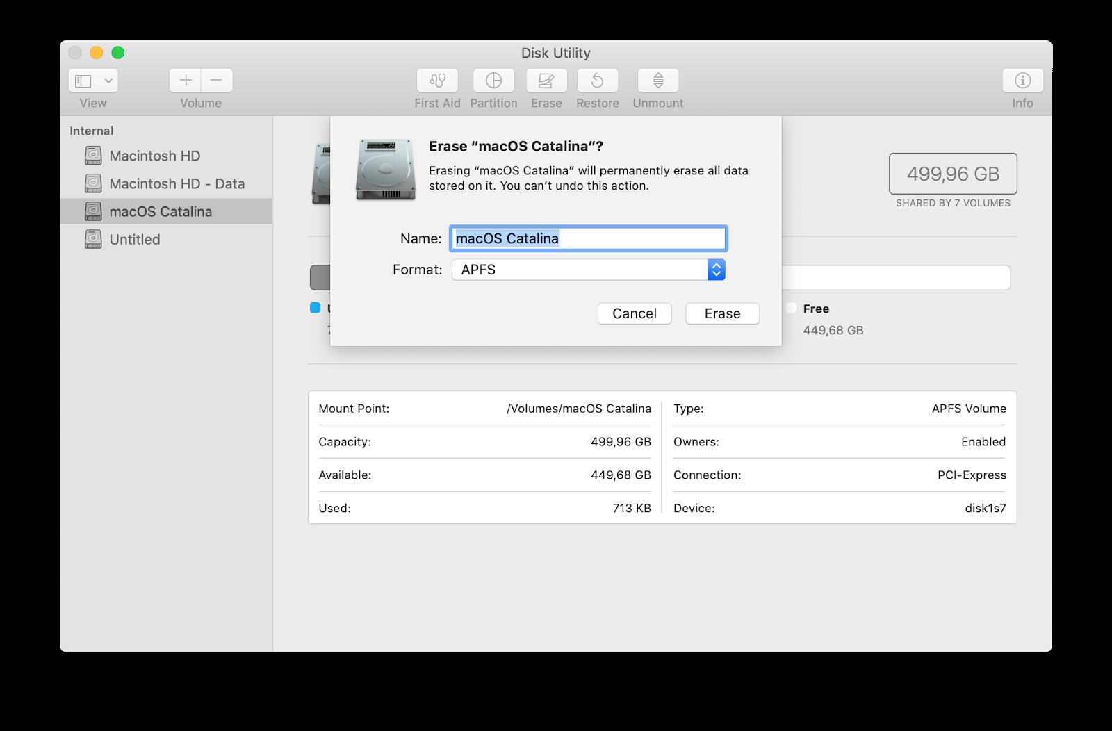 محو قرص بدء التشغيل الخاص بك مع macOS كاتالينا