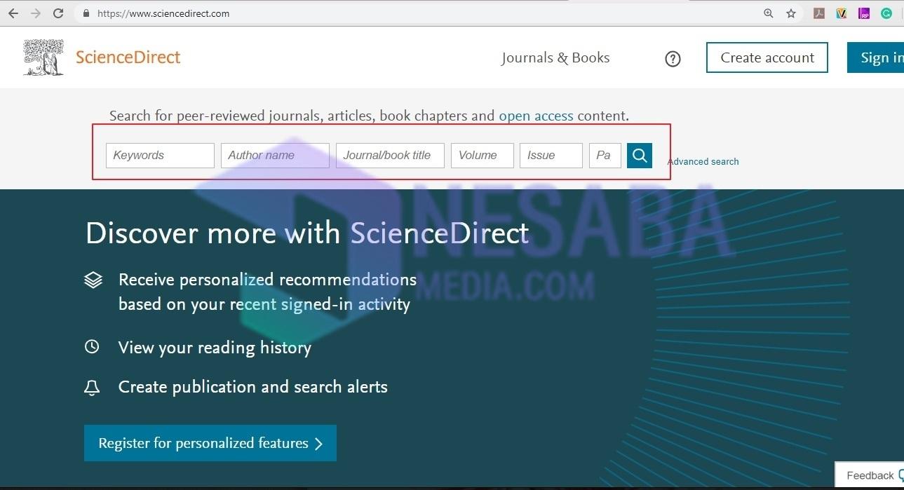 كيفية تنزيل مجلة مجانية من خلال موقع Sciencedirect