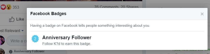 Facebook شارات الذكرى المقدمة بعد نجاح أكبر المعجبين 1