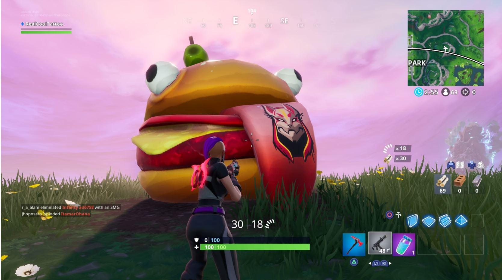 Fortnite: قم بزيارة مواقع Durrr Burger Head و Dinosaur و statue head stone 1
