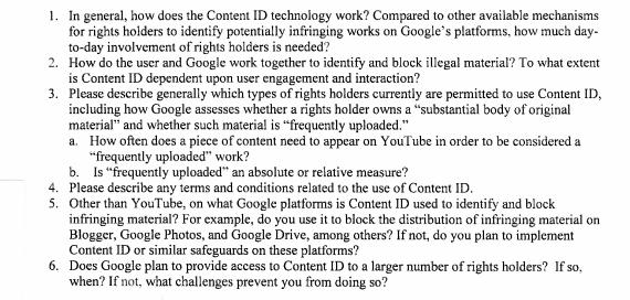 أعضاء الكونغرس سؤال الرئيس التنفيذي لشركة جوجل حول YouTubeنظام معرف المحتوى 1
