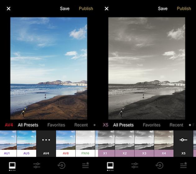 لقطات الشاشة لـ VSCO ، تطبيق فلاتر iPhone الشهير