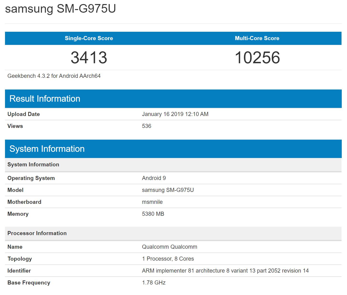 سامسونج Galaxy S10 Plus تتسرب بعد المرور عبر Geekbench 2
