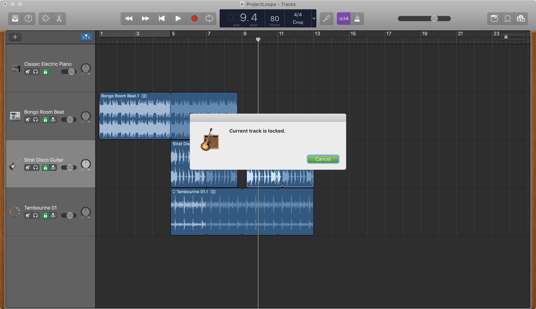 GarageBand Track Locked Mac