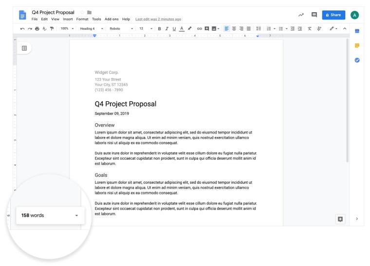 محرّر مستندات Google لعملاء G Suite لعرض عدد الكلمات في الوقت الفعلي 1