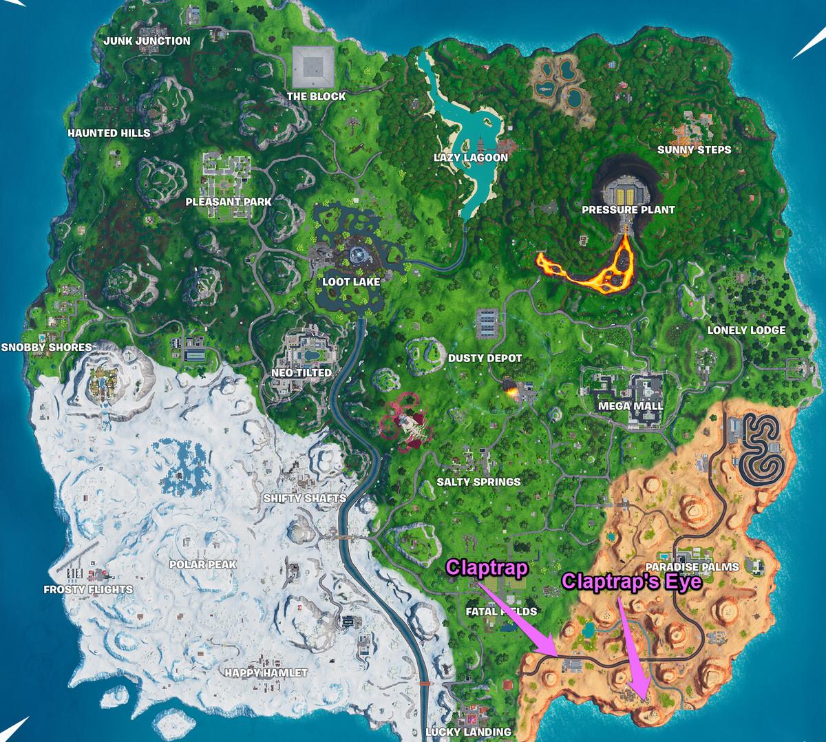 ا Fortnite الخريطة مع تحديد موقع علامة كلابتراب وعين كلابتراب
