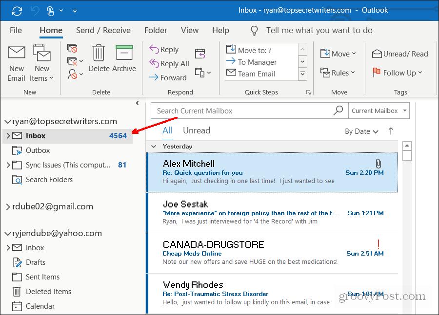 فتح البريد الوارد الافتراضي