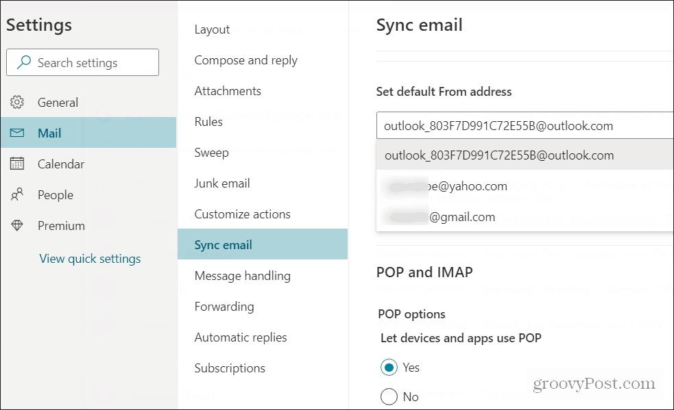 تعيين الافتراضي إرسال البريد الإلكتروني