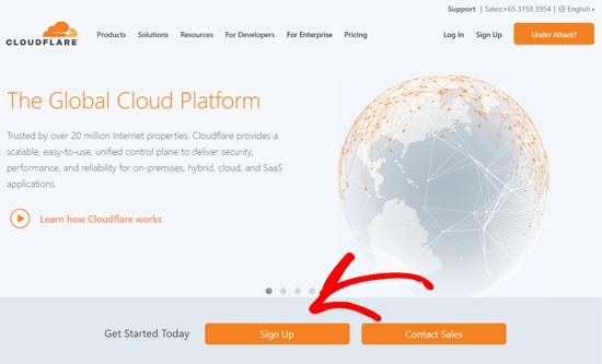 الاشتراك في موقع Cloudflare
