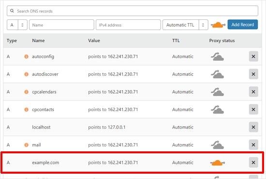 تحقق من سجلات DNS لإعداد Cloudflare
