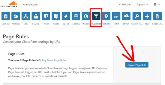 إنشاء قاعدة صفحة في Cloudflare