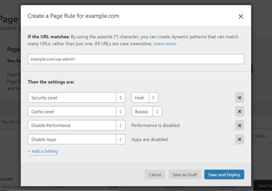 قم بإنشاء قاعدة صفحة لتأمين لوحة معلومات WordPress على Cloudflare