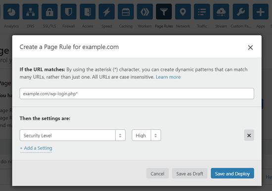 قم بإنشاء قاعدة صفحة لتأمين صفحة تسجيل دخول WordPress على Cloudflare