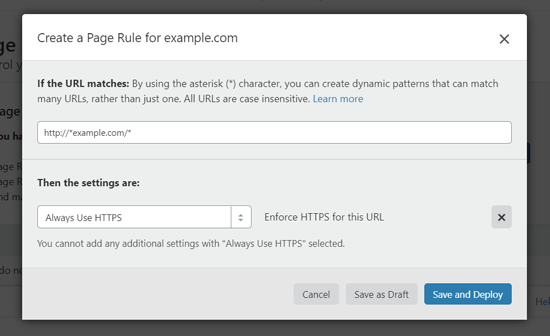 إنشاء قاعدة الصفحة لاستخدام HTTPS في وورد
