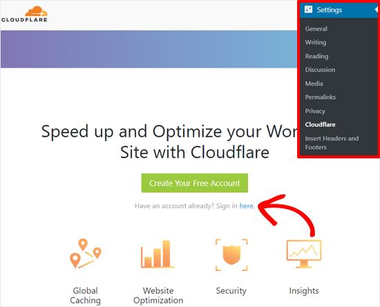 تسجيل الدخول إلى حساب Cloudflare مع وورد