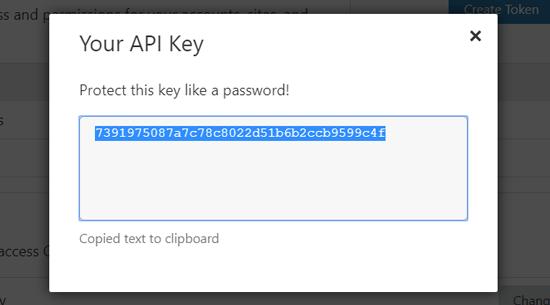 نسخ مفتاح API Cloudflare