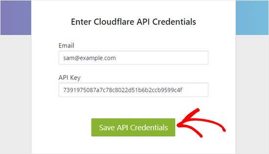 حفظ بيانات اعتماد API Cloudflare في وورد