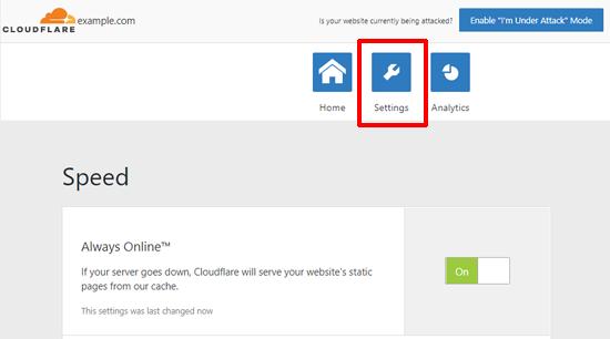 Cloudflare لإعدادات وورد