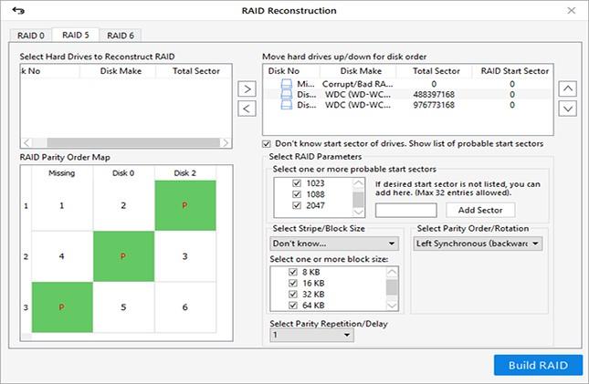 خطوات لتنفيذ استعادة البيانات دون جهد من محركات الأقراص الصلبة RAID 6