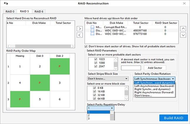 خطوات لتنفيذ استعادة البيانات دون جهد من محركات الأقراص الصلبة RAID 7