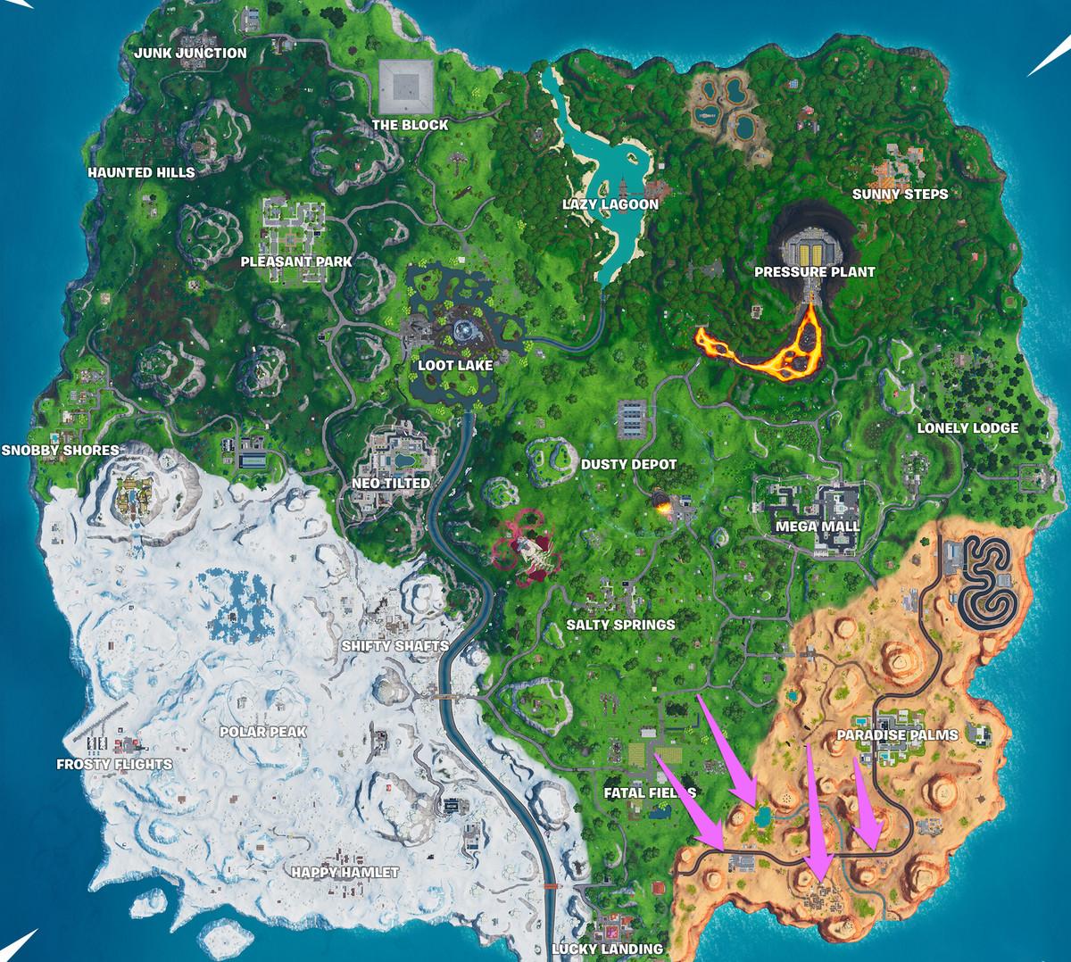 ا Fortnite الخريطة مع تحديد مواقع العديد من رموز Vault