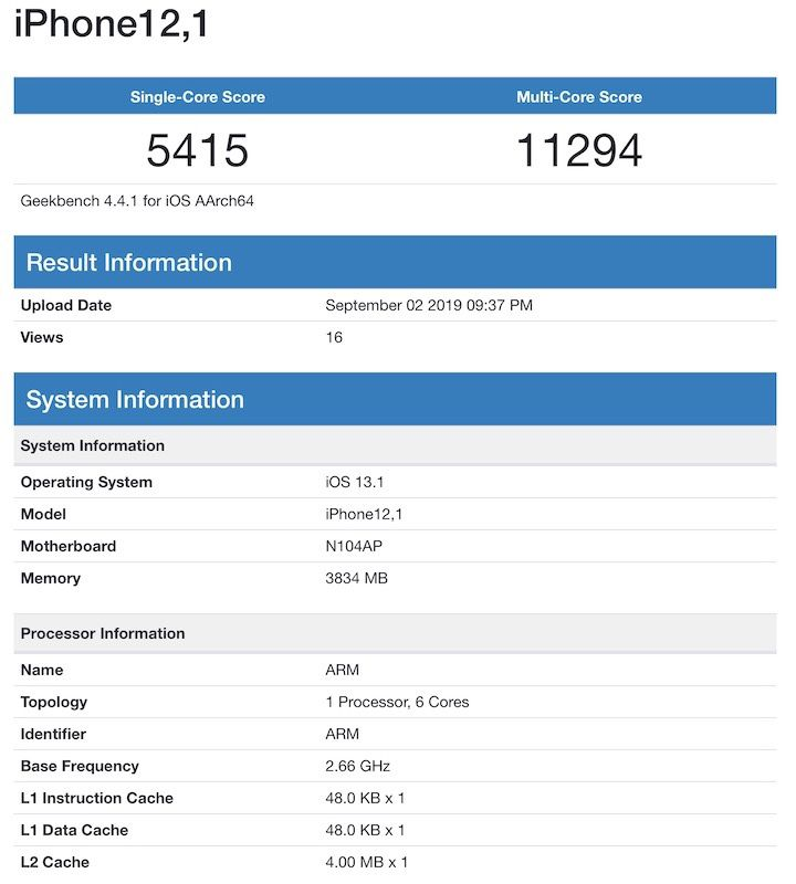Apple iPhone 11 (R) Geekbench List يكشف عن ذاكرة وصول عشوائي سعتها 4 جيجا بايت وترقية ثانوية للأداء 1
