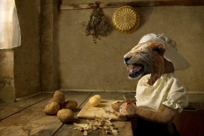 25 صور مسلية للحيوانات Photoshipped في لوحات عصر النهضة 2
