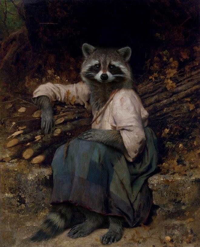 25 صور مسلية للحيوانات Photoshipped في لوحات عصر النهضة 16