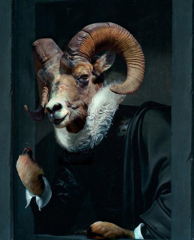 25 صور مسلية للحيوانات Photoshipped في لوحات عصر النهضة 19