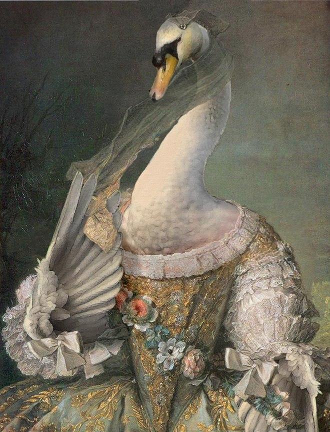 25 صور مسلية للحيوانات Photoshipped في لوحات عصر النهضة 20
