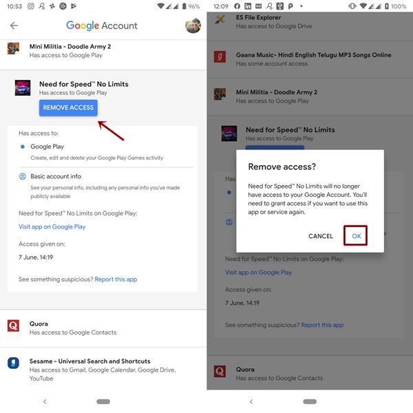 إزالة الوصول إلى التطبيق في حساب Google