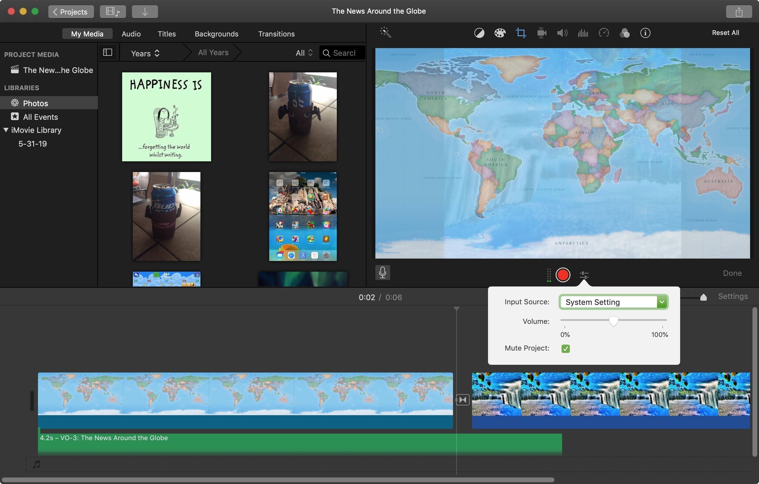 خيارات Voiceover iMovie Mac