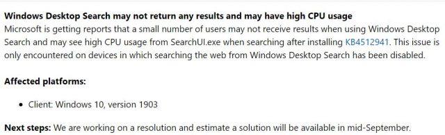 مايكروسوفت: الأحدث Windows 10 1903 تحديث يمكن أن يسبب المسامير وحدة المعالجة المركزية ، وكسر بحث سطح المكتب 2