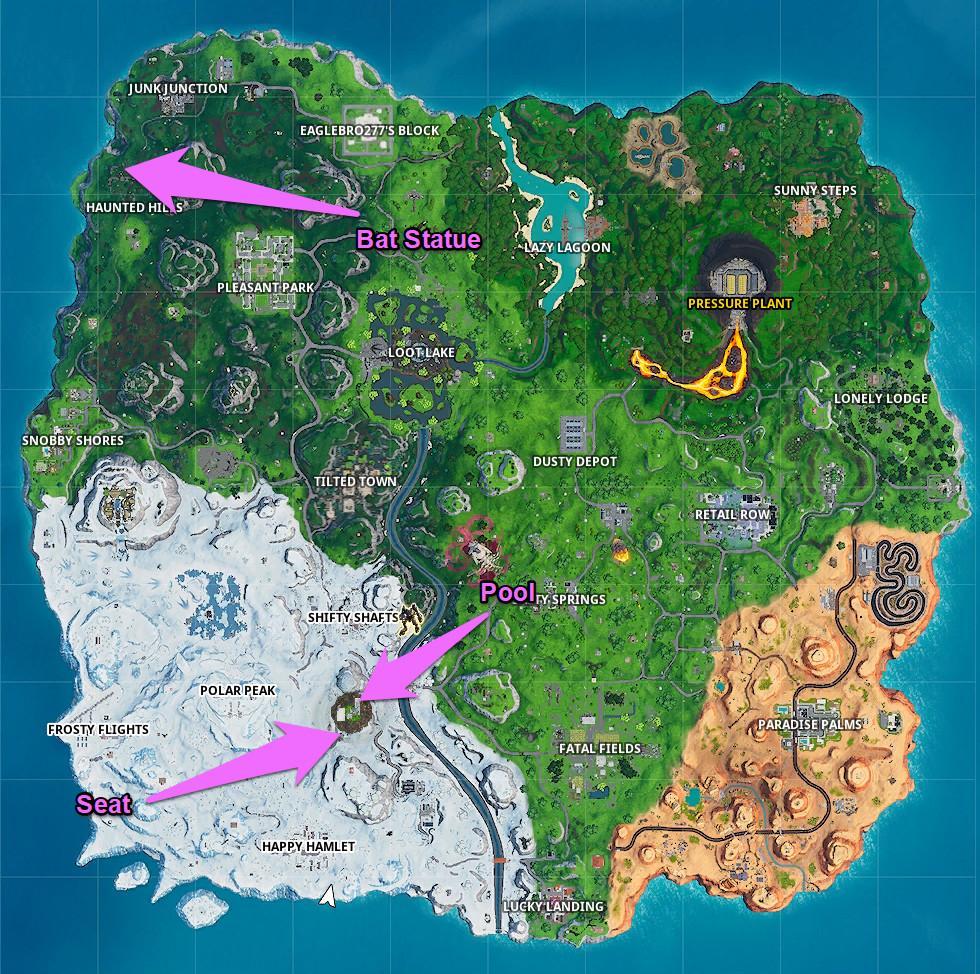ا Fortnite الخريطة مع مواقع الرقصات لهذه المهمة ملحوظ