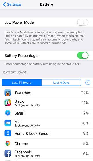 استخدام البطارية في نظام التشغيل iOS 9