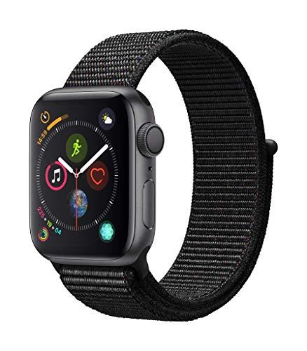 Apple مشاهدة سلسلة 4 (GPS) 40 ملم حالة الألومنيوم الرمادي الفضي وحلقة الرياضة السوداء