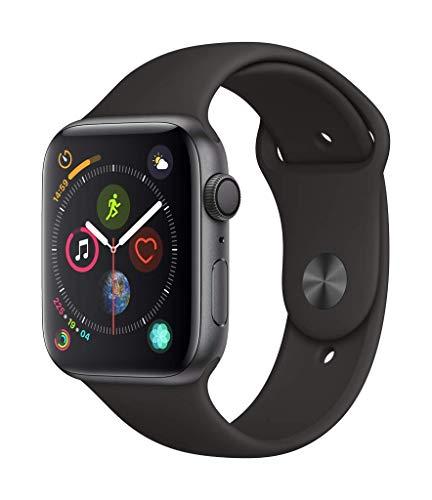 Apple شاهد علبة 4 سلسلة (GPS) بحجم 44 ملم من الألومنيوم الرمادي الفضي وحزام رياضي أسود