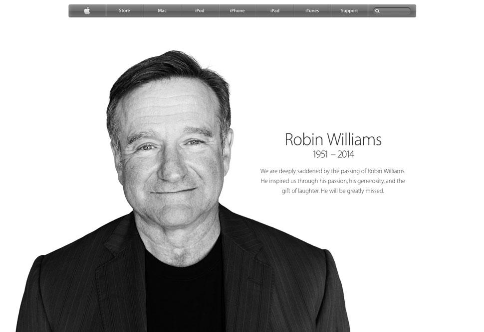 Apple يشيد بروبن ويليامز على موقعه الإلكتروني وفي متجر iTunes 2