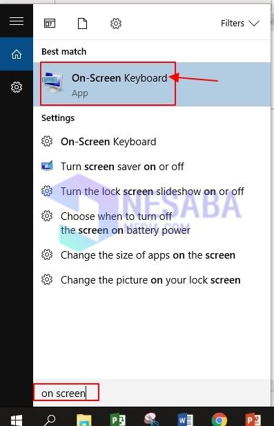 لوحة المفاتيح على الشاشة